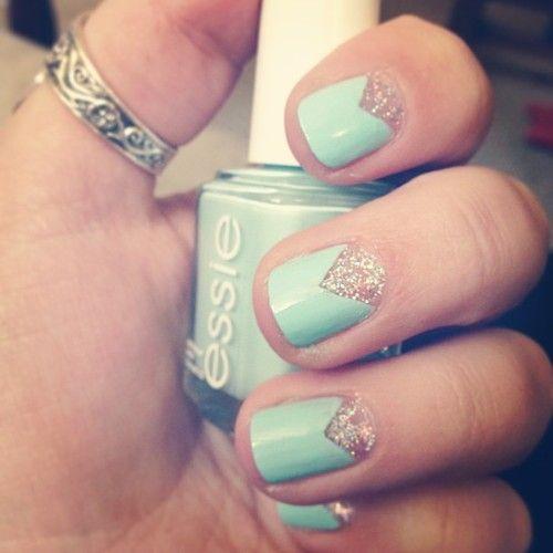 mint + gold nails.