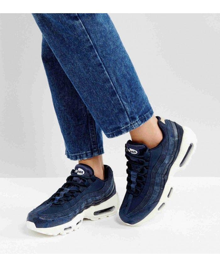 hot sale online 9c9e0 e5dba Chaussures Nike Air Max 95 Premium Bleu Blanc