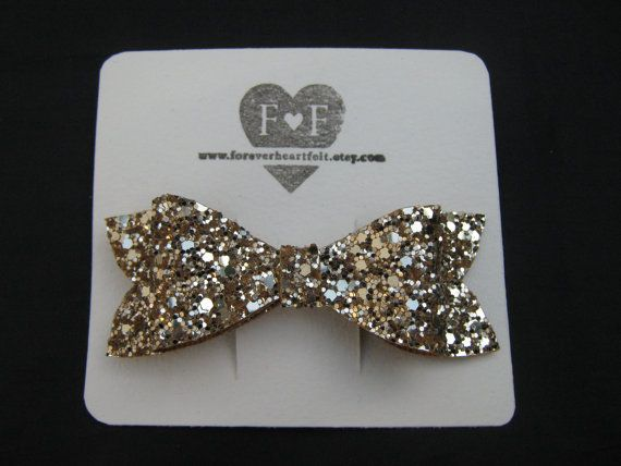 Handmade Glitter Bow Barrette  Girls Hair by ForeverHeartFelt