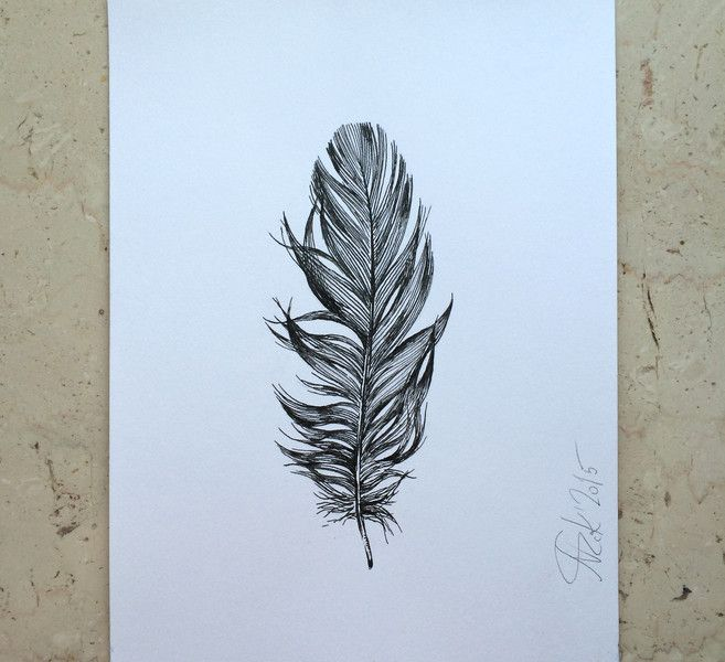 """Original Zeichnung """"Vogelfeder"""" von Arteck auf DaWanda.com"""