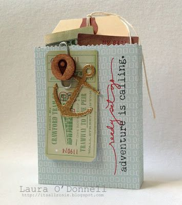 Such a cute fun gift idea from Laura O'Donnell. She decorated a mini gift bag with embellishments and stamped on it with stamps (from the Leaving on a Jet Plane by Ali Edwards set from TechniqueTuesday.com). She then added a tag and cash inside. Great for a gift.