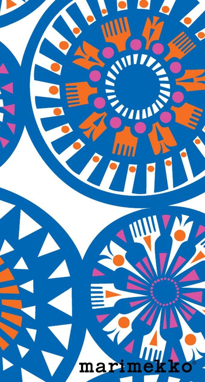 マリメッコ/花柄14 iPhone壁紙 Wallpaper Backgrounds iPhone6/6S and Plus Marimekko Floral Pattern iPhone Wallpaper