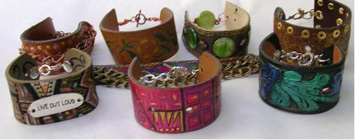 recycled belt leather bracelets - hmmm check Goodwill for belts, dye with alcohol ink?
