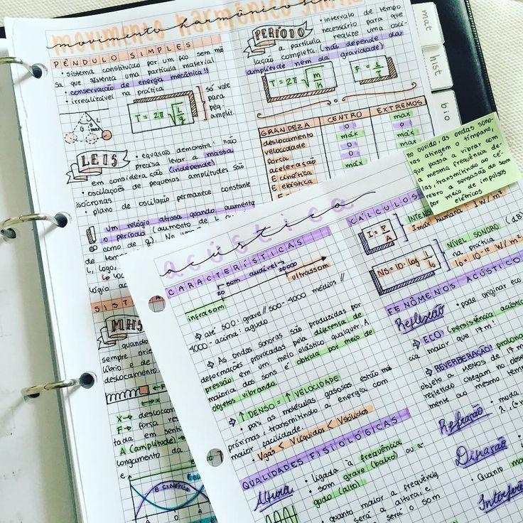 06.10.2016// anotações de física sobre movimento harmônico simples e os básicos de acústica! Vou ver se consigo dar uma revisada em escolas literárias e figuras de linguagem mais tarde  || #enem #vestibular #vestibulando #estudo #resumo #fisica #physics #study #studying #studyspo #studyinspo #instastudy #studygram #studyblr #projetomedicina ||