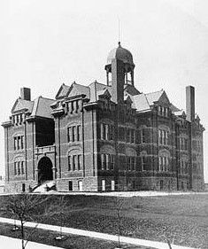 Marion High School, 1900, Hill & 3rd Streets. First Marion High School, built 1891, damaged by fire in 1902, repaired and used until destroyed by fire in 1923. From 1917-1923 used as Martin Boots Junior High School. Original cost in 1891 was $65,000; employed 5 teachers.