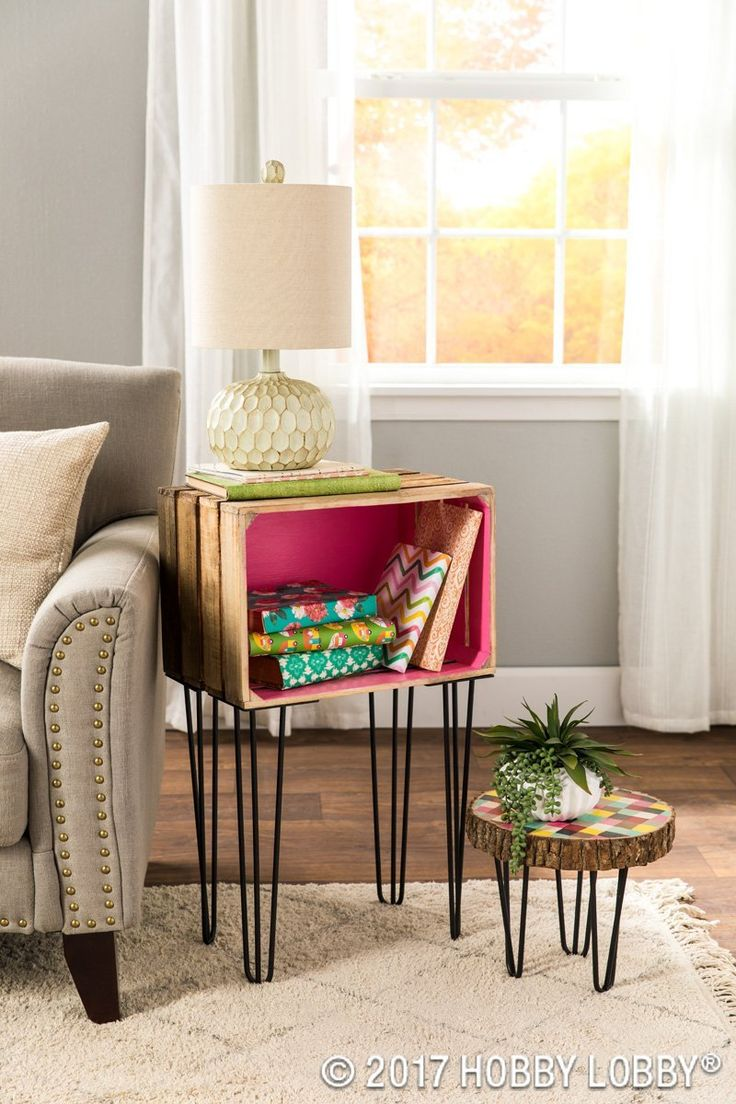 Trendy furniture is easily attainable by adding metal hairpin legs to everyday decor pieces!
