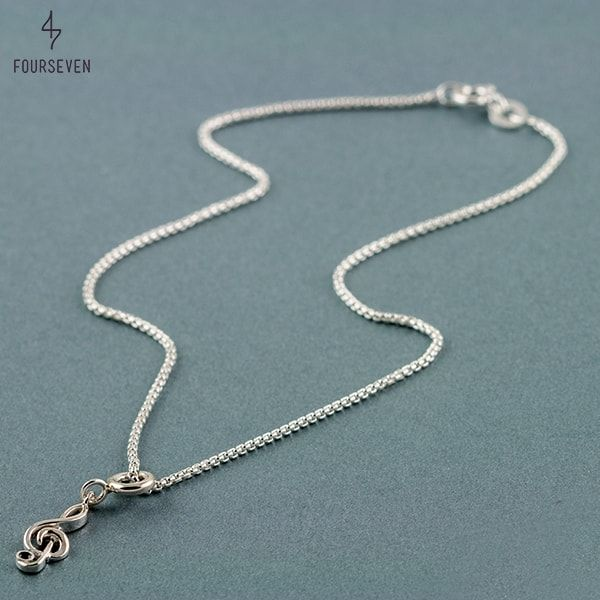 Silver Anklet with Musical Clef Charm.