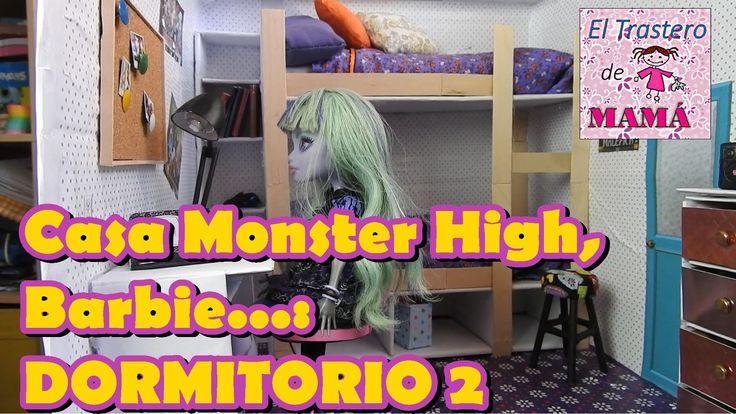 Dormitorio 2 de la Casa de Monster High, Barbie, EAH hecha con materiale...