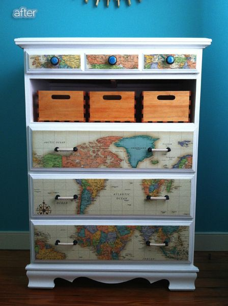 mod podge maps onto a dresser, replace drawer with baskets.