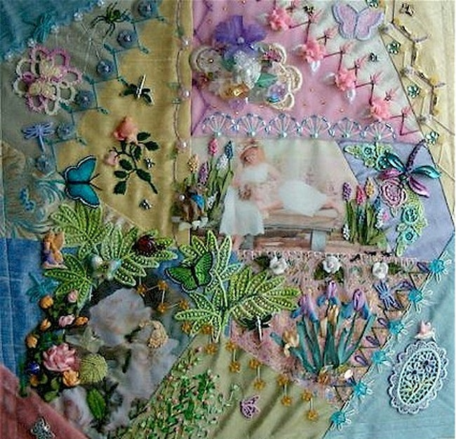 I ❤ crazy quilting, embroidery & beading . . . Kathy Shaw CQ Block, (Shawkl)