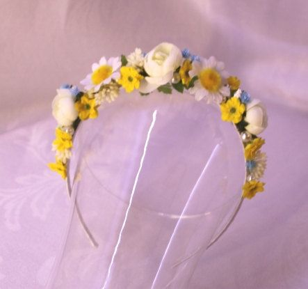 Sunny morning Floral headband flowergirl accessory Bridal wedding faerie costume fairy hair flowers on Etsy 17eur