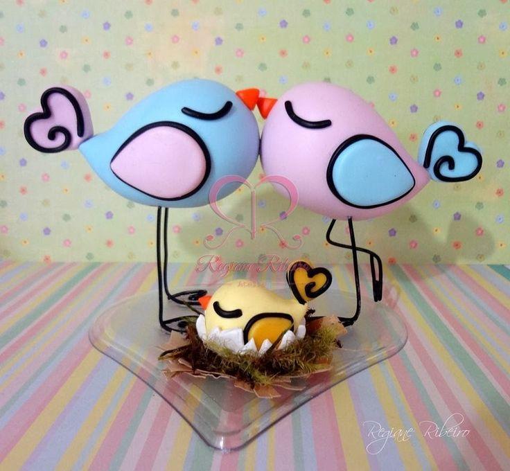 Passo a Passo Topo de passarinhos em biscuit - Love Birds