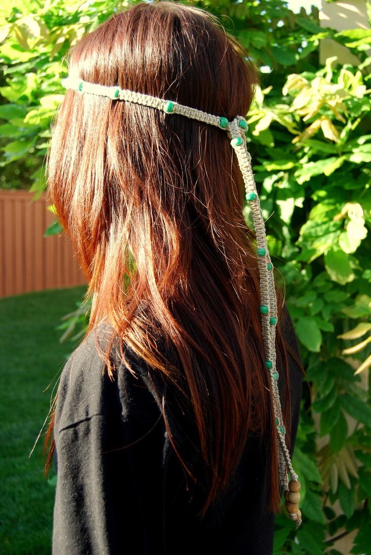Macrame Hippie Hemp headbad With Beads by leahsimoneau on Etsy, $32.00