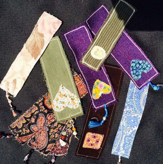 hand crafted fabric bookmarks 2 for 7.50  free domestic shipping repurposed fabrics book lovers gifts eco-friendly book lovers gift
