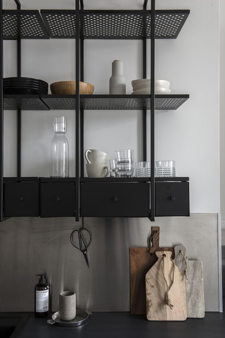 metal storage shelves. unusual black metal shelves in the kitchen | open shelving storage