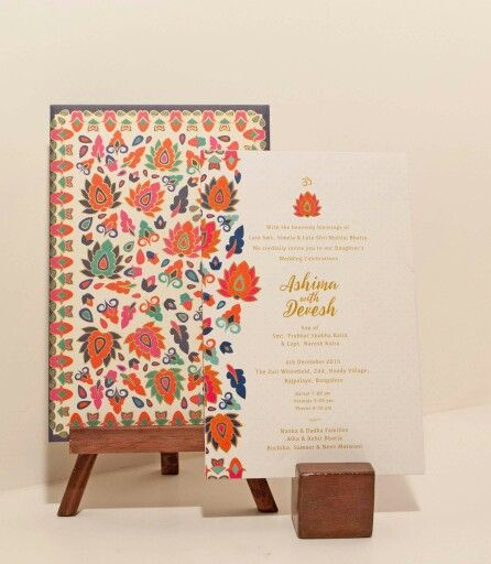 The Pashmina Invite- This combination of modern Ikat Print combined with Gold Painted Strokes, fits the bohemian spirit of love and expression and is perfect for a Modern Indian Wedding.