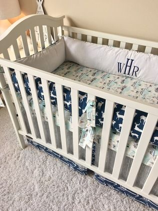 Navy Deer, Tee Pees, and White Crib Bedding