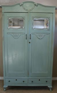 A wardrobe painted in Annie Sloan Duck Egg blue. What a beautiful piece!