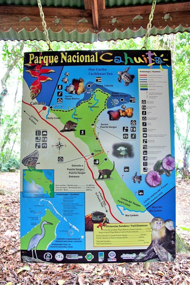 Cahuita National Park Costa Rica - map