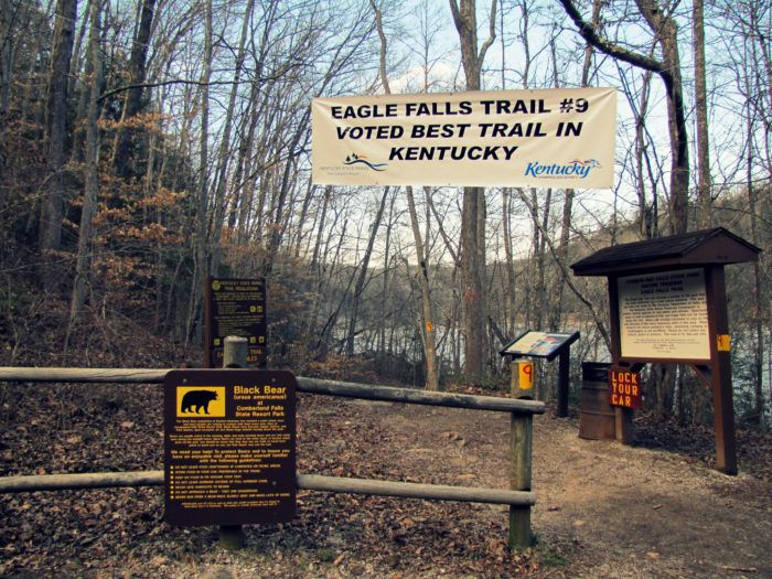 The Eagle Falls Trail #9, which was named the best trail in Kentucky, is located within Cumberland Falls State Resort Park in Corbin. You can find the trailhead along KY-90 in the state park. This 1.5 mile loop is the only trail that leads to Eagle Falls, and can be quite rugged, so be sure to wear proper footwear and use caution. Some parts of the trail are steep and can get slick after a rain.