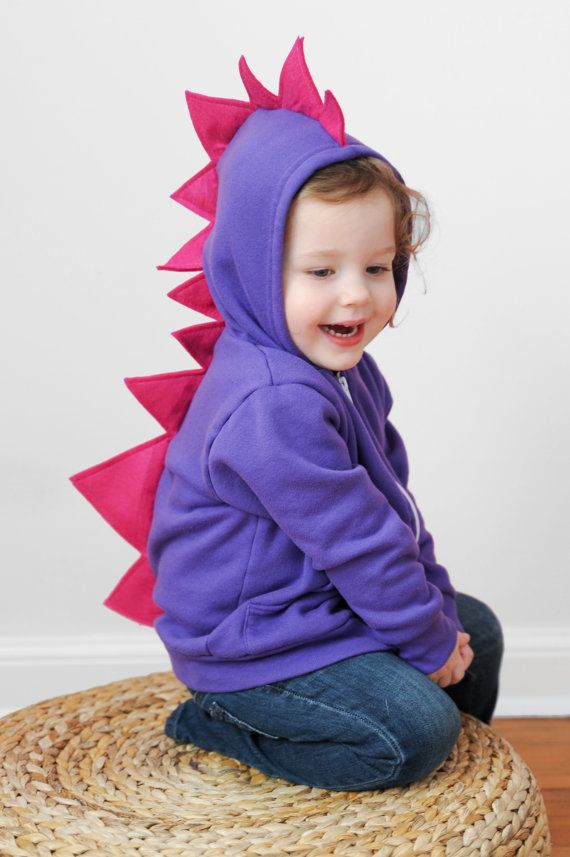 PURPLE- PINK Dinosaur Hoodie spikes hooded sweatshirt with dino spikes for girls on Etsy, $35.00