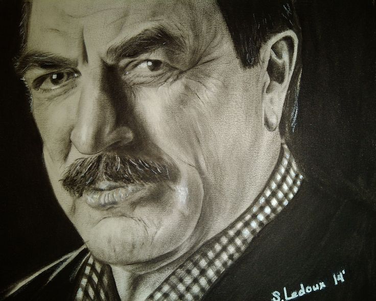 Portrait Drawing - Tom Selleck, Oil painting Dry brush technique, 2014