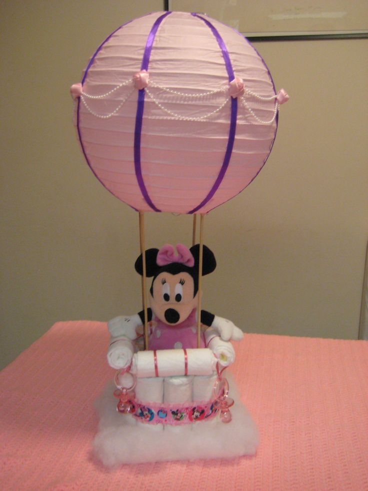 Minnie Mouse hot air balloon diaper cake  Diaper cakes  Baby shower desserts Nappy cakes