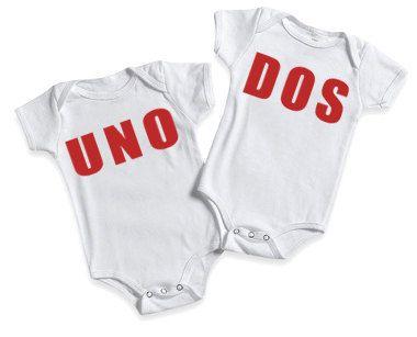 Funny Baby Onesie for Twins Baby  Onesie Bodysuits Twins Numero Uno and Numero Dos. $29.98, via Etsy.