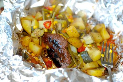 Hobo Stew (beef and vegetables in foil pouches)   – My side dish