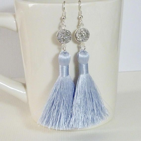 Platinum Druzy Long Silky Tassel Earrings by Dolphinmooncreations #druzyearrings #tasselearrings