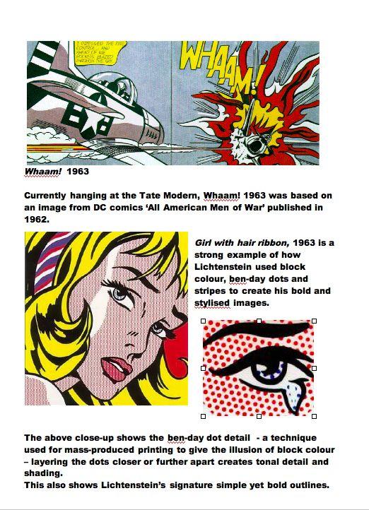 Roy Lichtenstein: Artist Fact Sheet Part 2. Blue Sparrows Art Club.