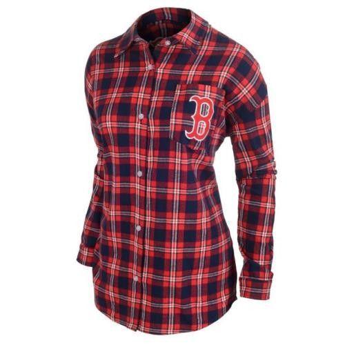 #Boston Red Sox #Women Wordmark #LongSleeve Flannel $Shirt by Klew