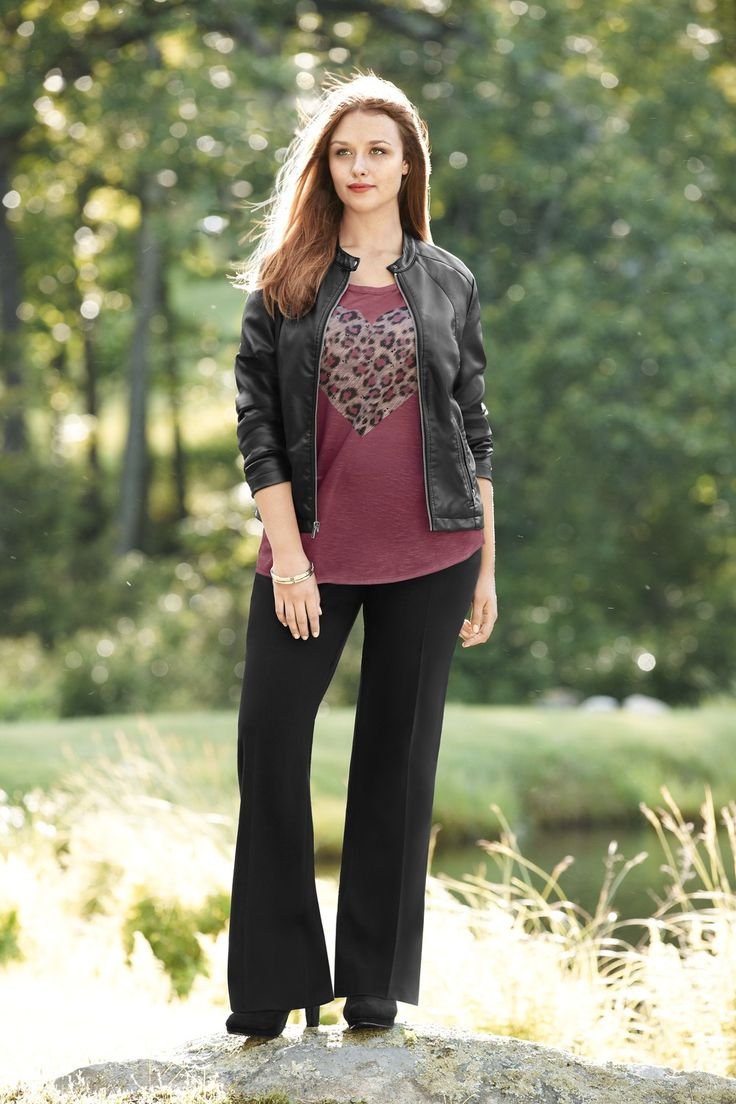 Great Look from Lane Bryant...a moto jacket with fun, fall-festive tunic and black pants. Go for a little extra pizazz with a sexy fashion bra from Bra~vo intimates...it's time to move those t-shirt bras to the back of your drawer!
