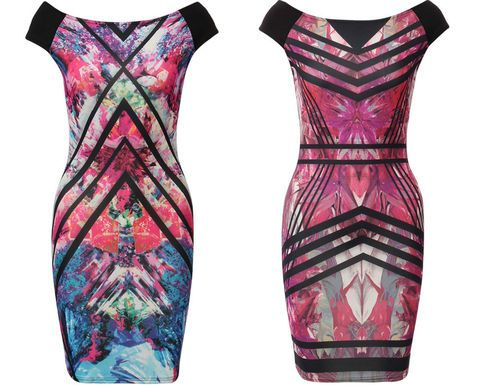New Graphic Prints Multi Coloured Bodycon Dress. These Gorgeous Prints are all over the high street get yours now at the fraction of the price at only £18.99!!