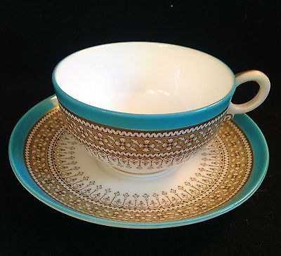 C 1879 Royal Worcester Turquoise Blue Wide Mouth Tea Cup And Saucer