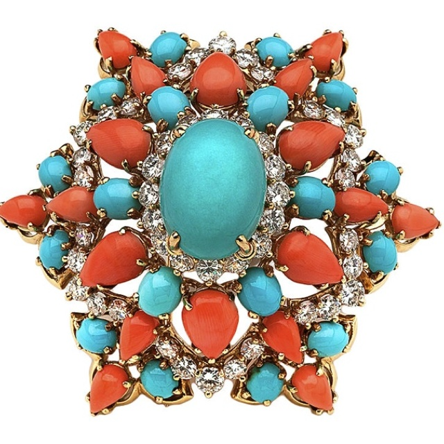 Turquoise & Coral.