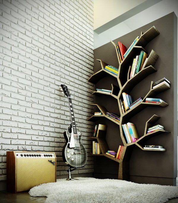 meuble bibliothèque, arbre