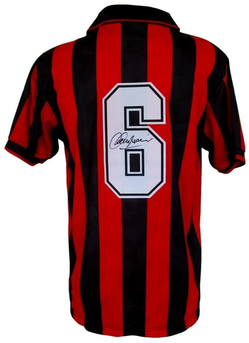 Franco Baresi Signed AC Milan Home Soccer Jersey Icons