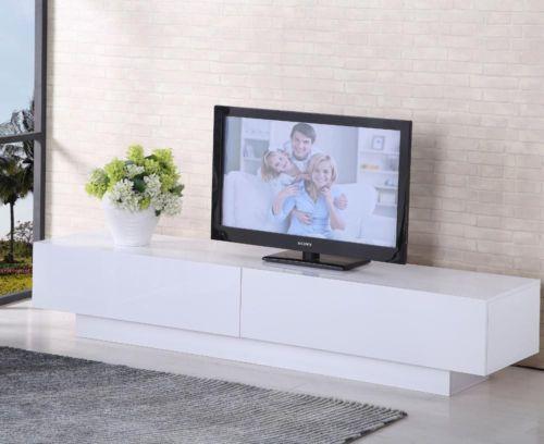 TV-Entertainment-Unit-Stand-Gloss-Cabinet-Lowline-Shelf-TV10-White-Black
