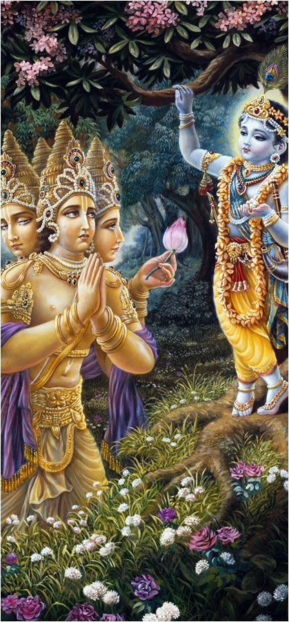 Immediately Brahmā descended from his great swan carrier and fell down before the Lord just like a golden stick. All the four helmets on the heads of Brahmā touched the lotus feet of Kṛṣṇa. Brahmā, being very joyful, began to shed tears, and he washed the lotus feet of Kṛṣṇa with his tears. Repeatedly he fell and rose as he recalled the wonderful activities of the Lord. After repeating obeisances for a long time, Brahmā stood up and smeared his hands over his eyes.