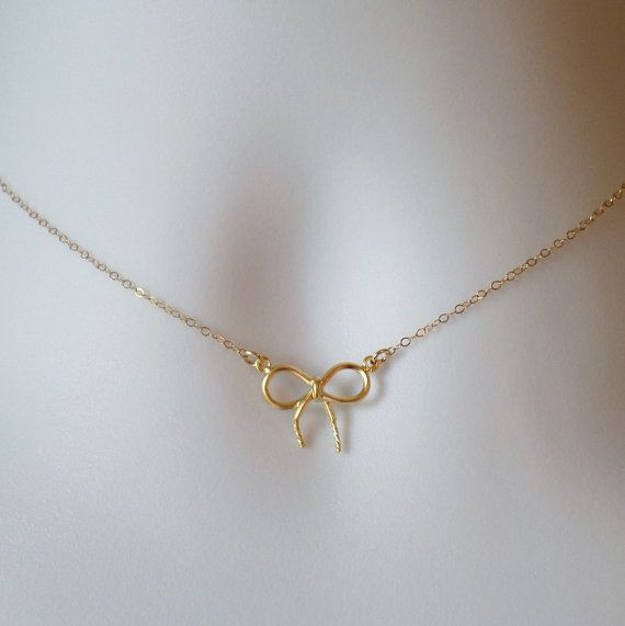 Gold Bow Necklace  Dainty Bow Necklace  Tiny by WanderingDandelion