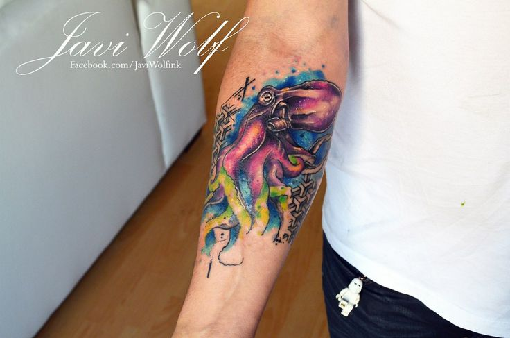Watercolor Octopus Tattoo.  Tattooed by @javiwolfnk