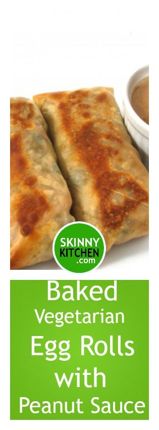 Skinny Baked Vegetarian Egg Rolls with Peanut Sauce. Amazingly good!!! Each has 117 calories 3g fat & 3 SmartPoints. #vegetarian #dairyfree http://www.skinnykitchen.com/recipes/skinny-baked-vegetarian-egg-rolls-with-peanut-sauce/