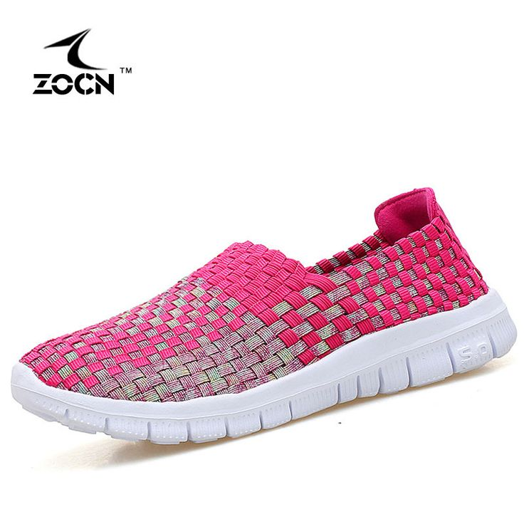 ZOCN 2017 Handmade Casual Shoes For Women Breathable Flats Shoes Women Fashion Weave Shoes Stretch Fabric Slip On Zapatos Mujer