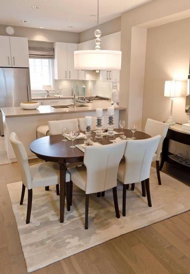Dining Room Decor Ideas   Contemporary Style With Dark Oval Table And  Upholstered Chairs In A Neutral Cream And Grey Color Palette, Drum Shade  Chandelier. Part 66