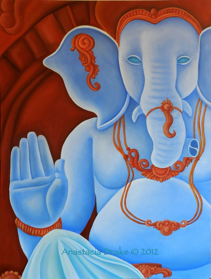 """Ganesha - Remover of Obstacles, Oil on Canvas, 24x36"""""""