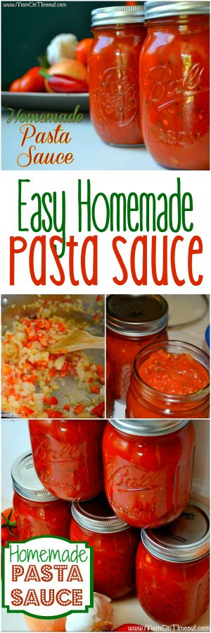 This Easy Homemade Pasta Sauce recipe is a great way to use all those fresh veggies in your garden! Not into canning? No worries, this sauce can be frozen in ziploc bags as well! | MomOnTimeout.com