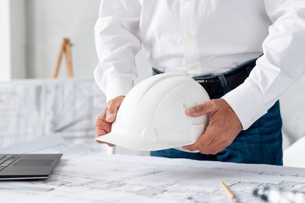 Engineer Holding Hard Hat Construction Worker Professional Safety Work Industry Building Person Manager Service Construction Worker Hard Hat Construction Work Safety