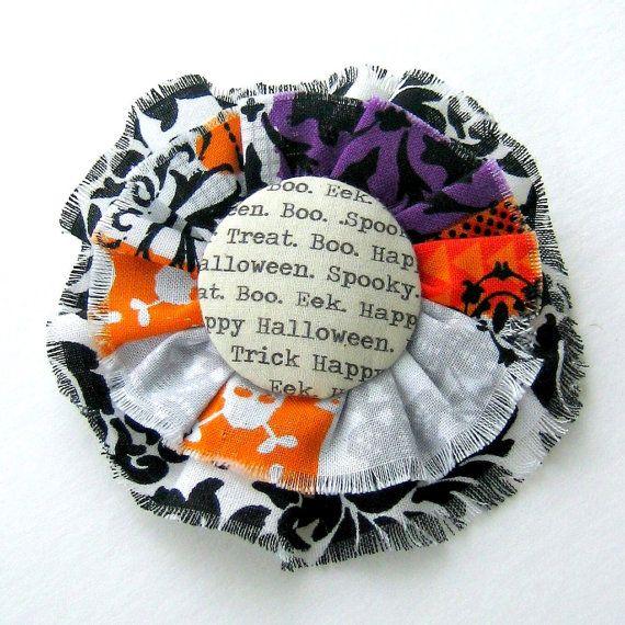 Halloween Brooch, Halloween Pin, Halloween Flower, Halloween Fabric Flower Pin,  Halloween Accessory - No. 232