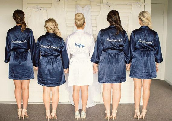 Navy Blue Embroidered Robe Bride Bridesmaid by WeddingPrepGals